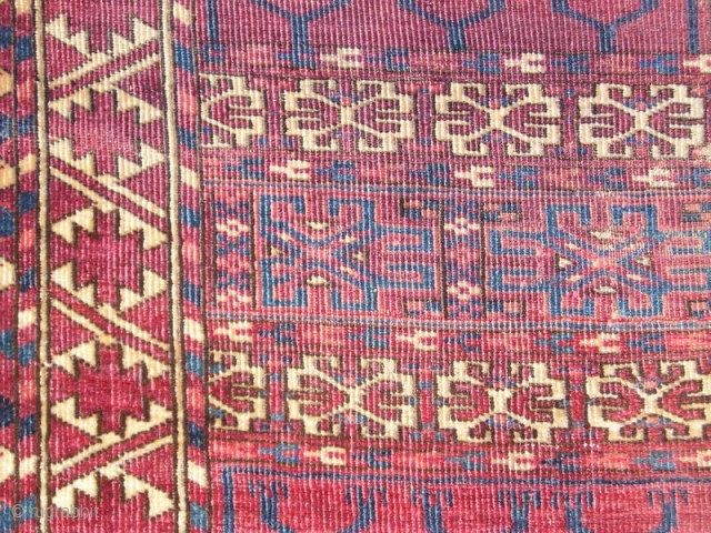 fragmented Tekke Turkmen Ensi with silk highlights (and one knot of cotton)Very soft handle.