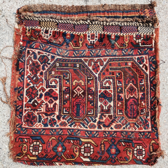 South Persian tribal khorjin bag with a large scale boteh design. Looks Khamseh. All nice colors.