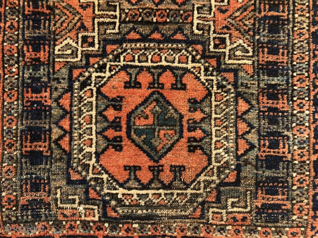 "An extremely rare and unusual small Baluch rug from late 19th century. 3'.9"" x 2'.3""