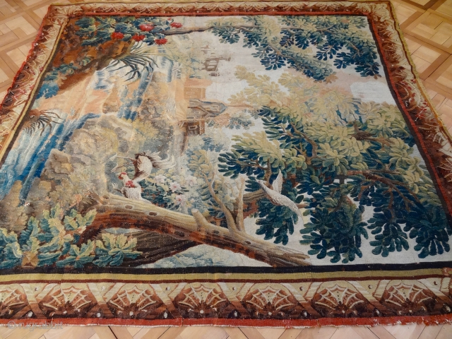 17 CENTURY SILK AND WOOL AUBOUSSON TAPESTRY 7'5 x 8'4