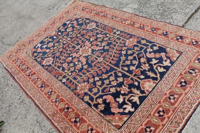 Antique 19 C. Heriz Small Rug $1 starting Ebay Auction, Online Bidding:
