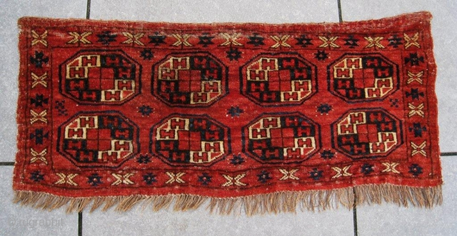 Antique CHODOR torba, cotton wefts and asymmetrically,open to the right knotted. Mid 19th c. Very good condition. It is a very,rare piece.