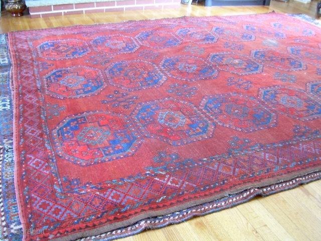 "7'4"" x 9'6"" old ersari rug, with some nice open space and colors, but also a second red that's not all natural, some wear areas, and one 4"" x 1.5"" little cut  ..."