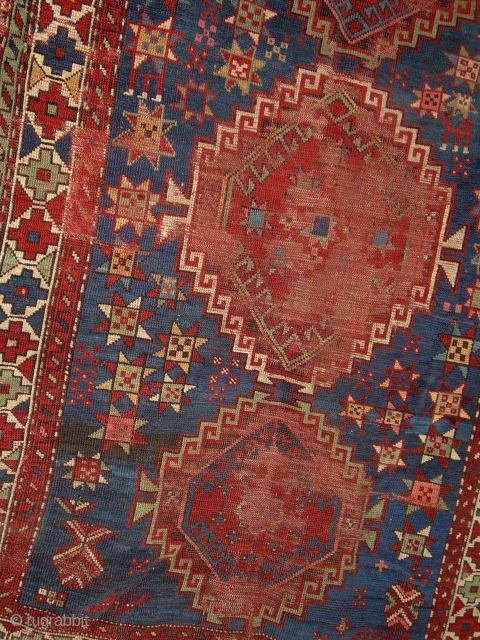 """caucasian rug, 3' 6"""" x 5' 10"""" ... some nice color and drawing foundation mostly there.  one redorange looks whitish on back?  lots stars, one with legs.  $200 by  ..."""