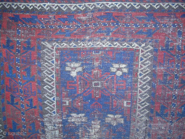 WANTED TO BUY  Baluch mina khani rugs - must have blue ground and white flowers on field.  Prefer rugs with white runing-dog minor borders.  If the price reflects condition,  ...