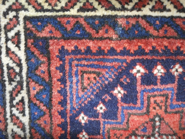 Baluch 1.5 x 1.3 full meaty pile, nice wool quality and drawing. scattered repiling.  ends/sides intact. inexpensive.
