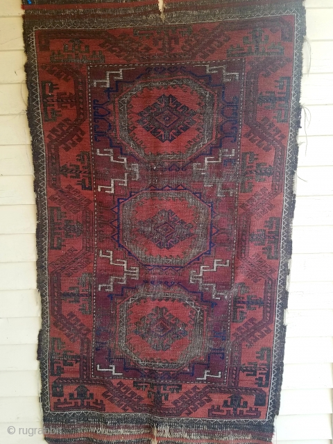Baluch - about 3.1 x 5.5. Beautiful, but blitzed.  Overall wear, oxidation, and slit in kilim end.