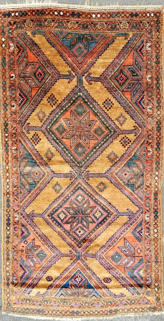 """Kurdistan - about 3'8"""" x 7'1"""". Good pile with shiny wool on camel ground.  One high spot and minor scattered pad remnants on back."""