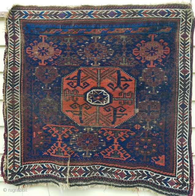 "Baluch - about 28"" x 28"" as found with interesting field panel at upper end."