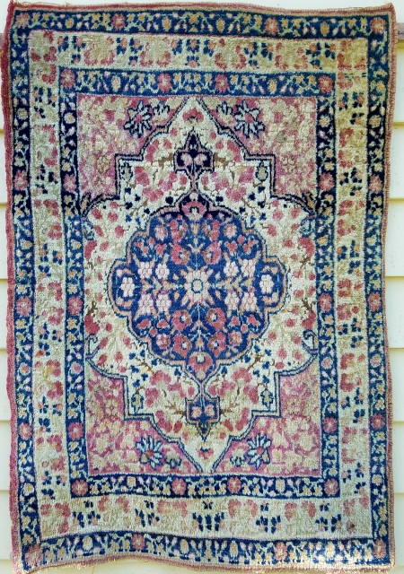 """Kirman - about 31"""" x 22"""".  Even wear with some slight oxidation.  Retains outer plain band at both ends.  Supple handle"""