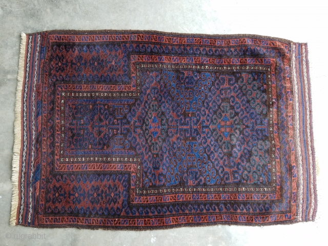 "Baluch prayer rug - about 2'11"" x 4'5"" good even pile. Nice color including blue green."