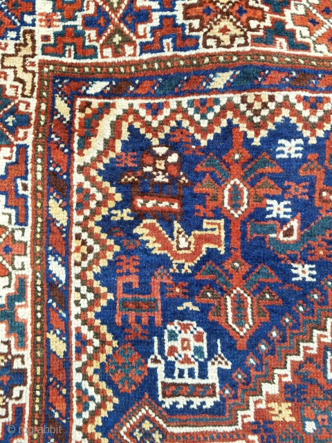 """SW persian about 3'9"""" x 5'1"""".  Nice graphics having double medallion design with loads of animals and birds.  Evenly low pile, curled corners at opposite ends, and no repairs."""