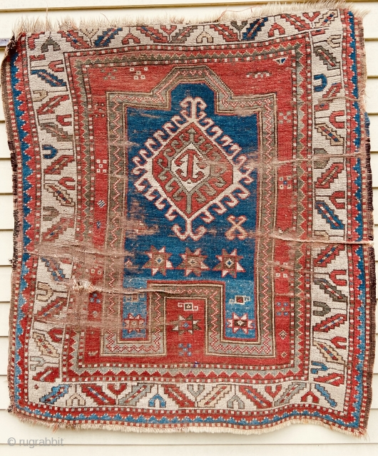 Kazak prayer rug - about 3.5 x 3.10 as found condition.  Nice graphics and color.