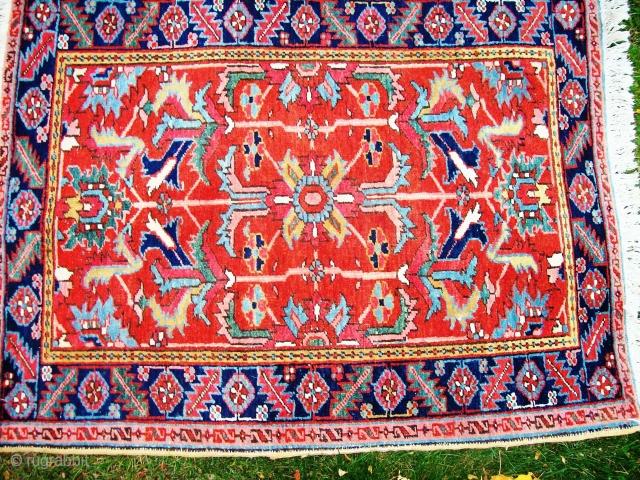 Heriz area rug approx 3.4 x 4.3 even wear, new fringes (secured on back), crip design. sides original and intact.
