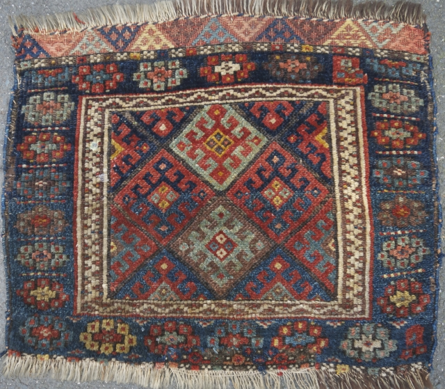 """Jaff Kurd bag face - 20"""" x 24"""" Nice color, decent pile, some candle wax on pile, well done patch at lower end, newer side cords.  $95 + ship"""