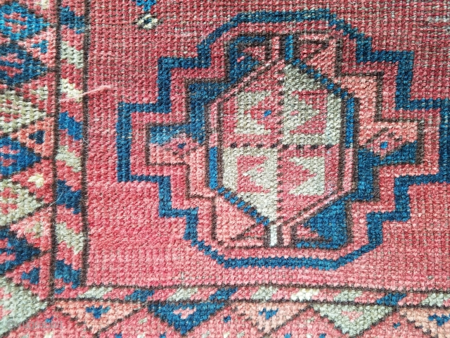 Ersari Afgan - about 5.9 x 3.10 (not including kilim remnants).  Central wear.  No repairs.  Nice use of green.