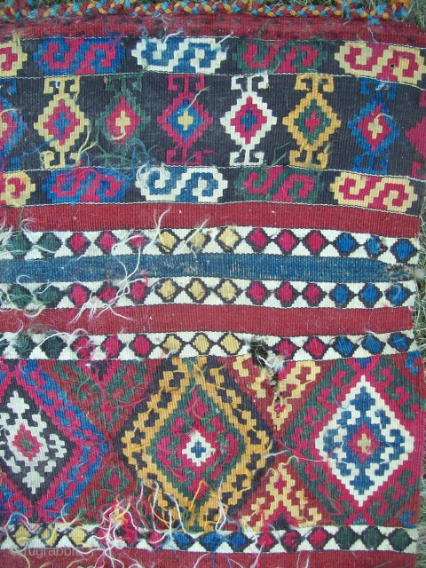 kilim bags 2.5 x 10 complete but not stiched together. Used as a runner. Some holes, filthy dirty,