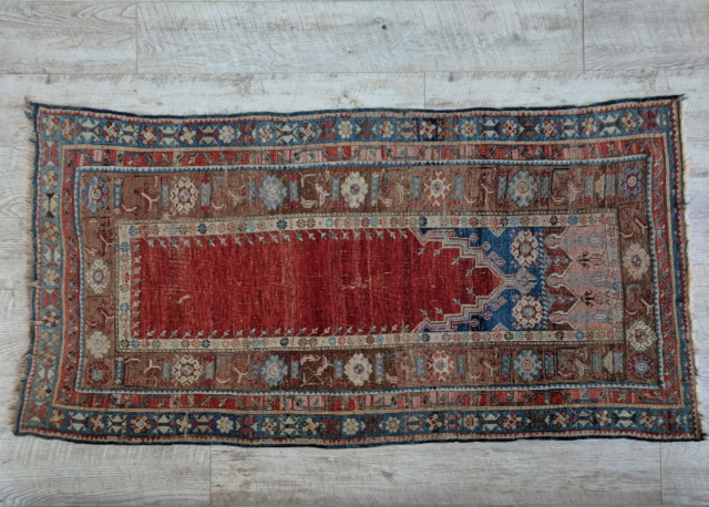 "Turkish pray rug, ladik (3'9"" * 7'), mid 19th century,  no repairs"