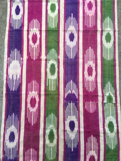 Antique Uzbek Adras Ikat panel(silk wrap/ cotton weft). excellent natural colours and linen. Fair Price.