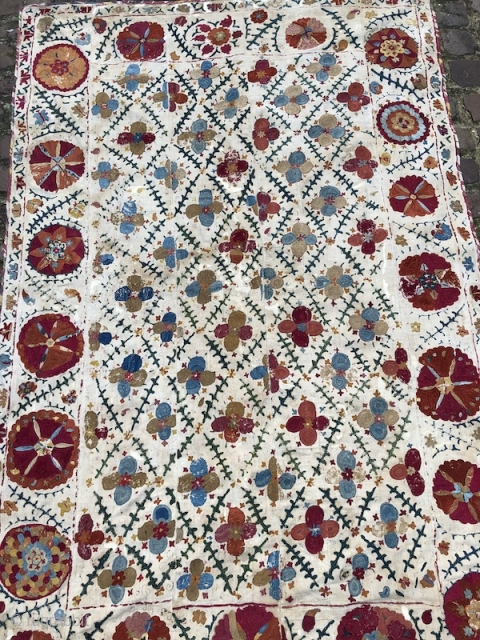 19th century Bukchara Region Uzbek Suzani. Beautiful colours and chain stitches. The size is: 165cm X 188cm. Pls email me for more images.