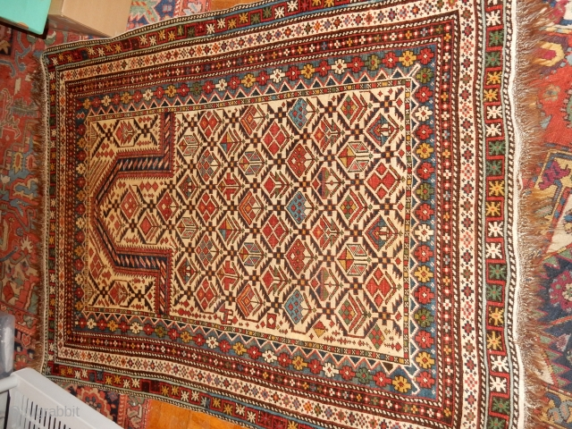 LARGE MARASALI IN GREAT ORIGINAL CONDITION - ORIGINAL SIDES, ENDS , GOOD STRONG DYES , BIG SIZE 48 X 58 INCHES - COMPLETE WITH THE KNOTTED ENDS- 