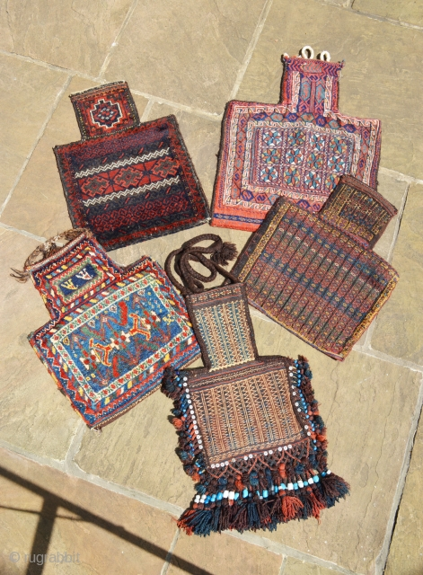 5 antique Persian Salt-Bags enjoying a Cotswold sun today.