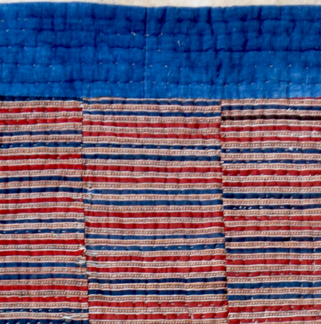 """Mazandaran quilt cover, early 20th c. 172 x 240 cm. (5'9"""" x 8').Weft faced jajim weave central part. Contrasted combination of excellent natural colors resulting with the hand-woven indigo cotton frame, in  ..."""