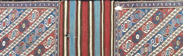 Dragon sumack mafrash. Both long sides and bottom present. Xizi village, Baku, Azerbaijan. Rare piece. Good age, great colors, great pattern. For dragon addicts only. More infos & pics on rq.