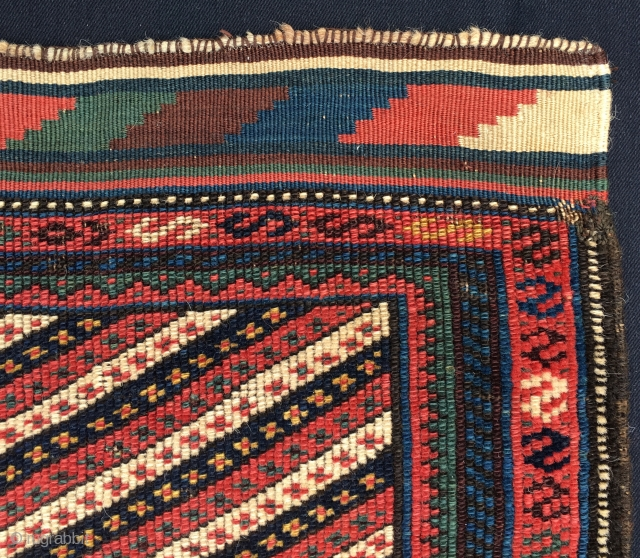 Beautiful, elegant, diagonal striped khorjin bag face. Kurdish. Any other attribution? Size is cm 60x60. Pile plus kilim ends, Old enough to be considered antique. good colors, lovely drawing, good condition.