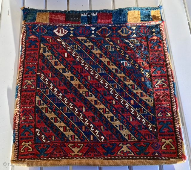 Shahsavan khorjin bag with original back. Cm 58x58. Late 19th c, rough, primitive weave, great colors, seen the sides?, good condition. Better pics coming.