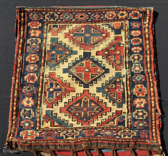 Shahsavan sumack khorjin bag. Cm 50x50, open 50x104 ca. Datable 1850/1860. Very very fine weave. Wonderful saturated colors. Super pattern…..see it by yourself. Minor tears & oxidations. Really a great bag. See  ...