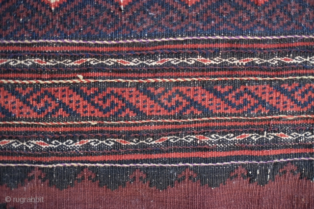 Baluch Flatweave Sofreh 140 X 70cm   4ft 7inch x 2ft 4inch Nice abrash in the field, floating weft decorations on both ends Very good condition