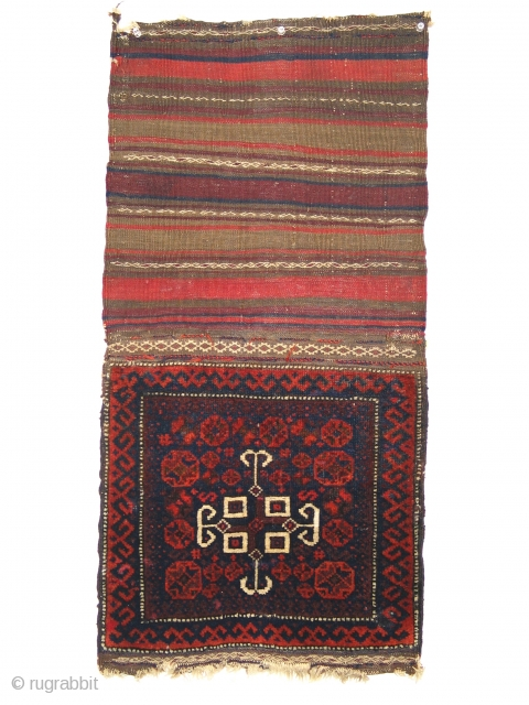 Baluch chanteh, pile with flatwoven back 40cm x 40cm  Front: long soft pile with unusual design of white elements floating on the red field Back: stripes  with floating weft decorations Very good condition