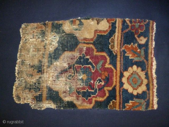 Persian border fragment monted on bleu cotton cm 25 x 40