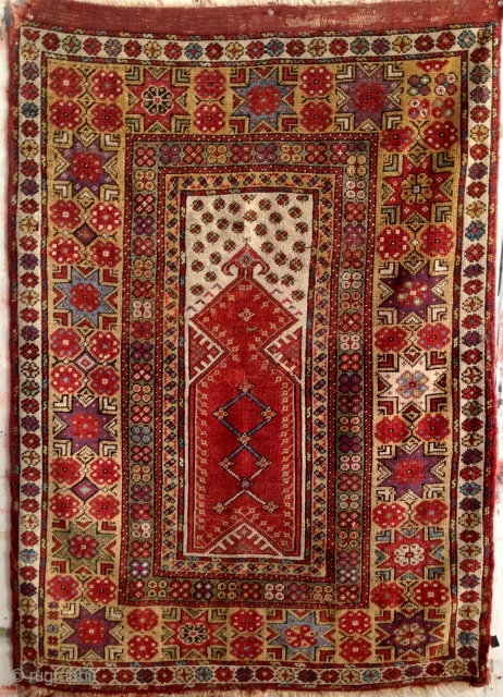 "Makri Double Niche Prayer Rug. Circa 1875, 6'8"" x 4'4"", all natural dyes, rich color. Beautiful dynamic design. Contact for additional images and info."