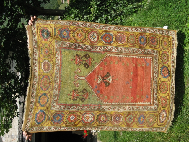 Aksaray carpet Anatolia, cm 112 x 146. Rug mid-XVIII century. Perfect condition,very beautiful and bright colors. No repairs. Ask for price or for many informations.