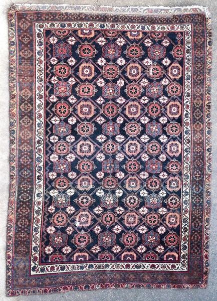 Hamadan rug, Kurdish.  Origin : Kurdistan Period : around 1900 Size : 180 x 130 cm Material : wool on cotton Old restorations, redone ends Vegetable dyes Handwoven  This rug has been cleaned by a professional.  ✦ Price and photos on  ...