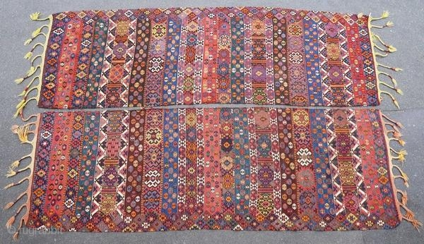 Old and original Kurdish kilim, around 1900.  Origin : Kurdistan Period : around 1900 Size : 2 x (305 x 100) cm Material : wool on wool Good general condition Vegetable dyes Handwoven  This kilim has been cleaned by a  ...