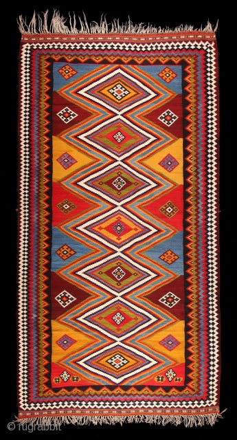 """exceptionally colored Qashqai kilim of the Kashkuli tribe,  exceptional size 325 cm times 172 cm published in """"The kilims of the collection Neiriz"""" (Kilims aus der Sammlung Neiriz, plate 110, Hamid Sadighi, 2014"""