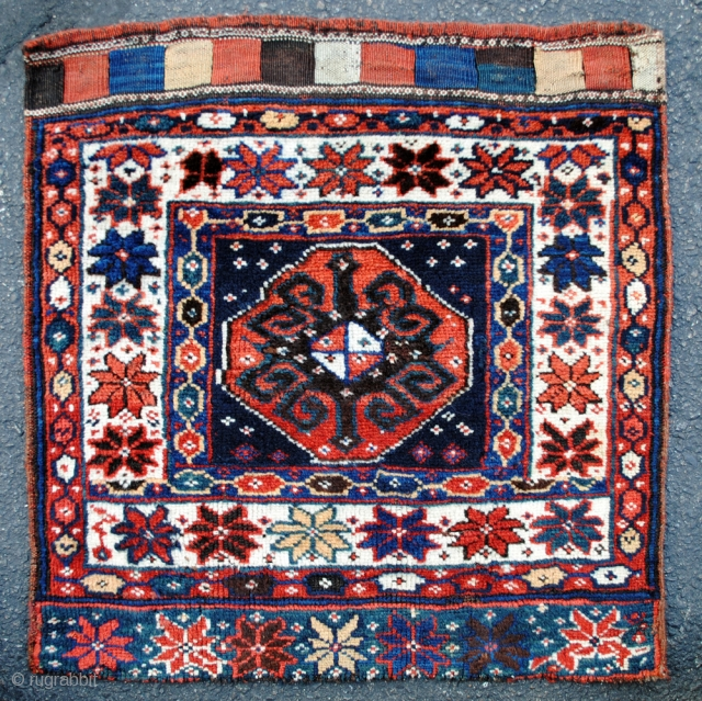 Colorful Kurdish bag from the Varamin area in excellent pile with saturated colors. Late 19th c. Great wool and graphics.