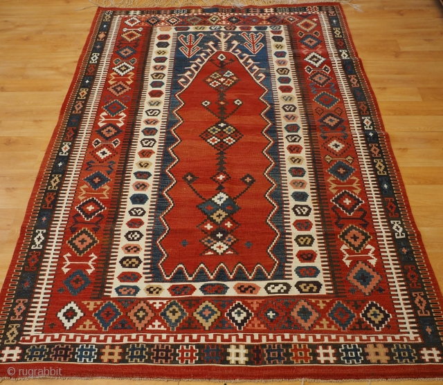 Antique Turkish kilim from the Obruk region with a classic prayer design. www.knightsantiques.co.uk  Size: 6ft 8in x 4ft 9in (204 x 144cm).  Circa 1900.   The kilim has excellent colour with an clear  ...
