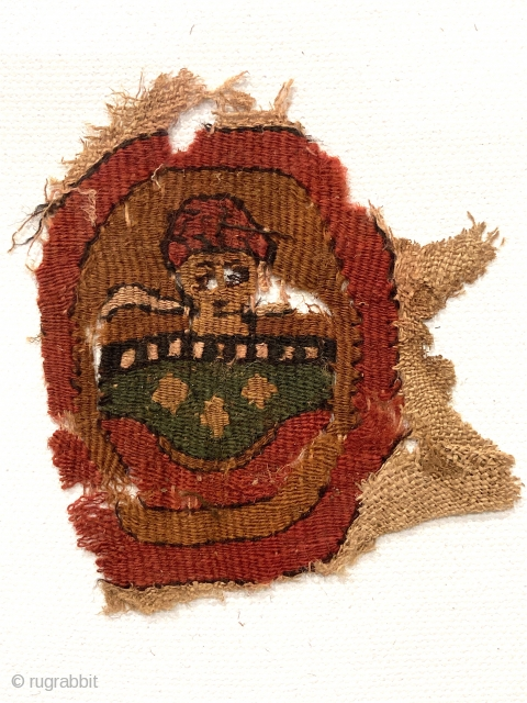 """Small Coptic portrait roundel, Green tunic, red hat !  Charming!   3"""" x 3"""""""