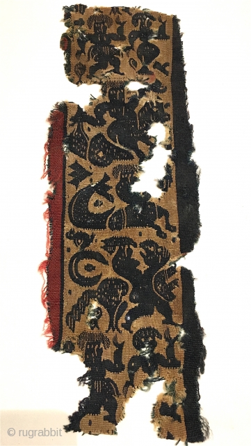 """Coptic fragment with fine weave and outstanding graphics!  4"""" x 10"""""""
