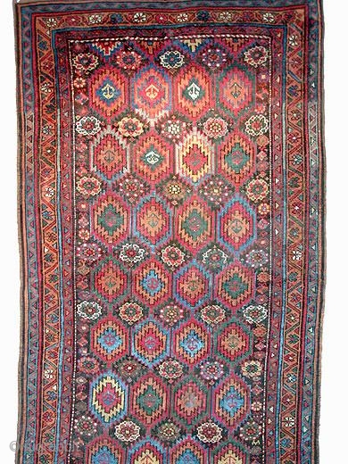 Antique NW Persian Kurd Rug w/ Flame Design