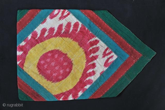 Turkmen Bohça. Wool and silk Ikat. 41 X 60 cms. Good condition