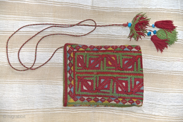 Ersari Turkmen embroidered khalta. 13 X 17 cm