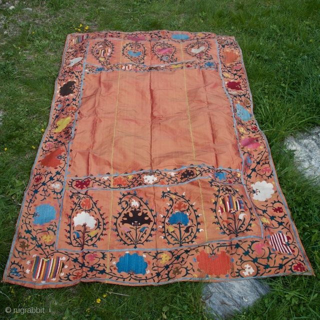 Silk Suzani on silk. 133 X 228 cm. Fresh and vivid colors, late XIX century, good condition.