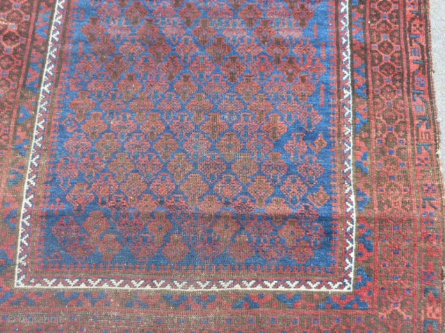 Persian Timuri Baluch, late 19th century, 3-4 x 4-11 (1.02 x 1.50), shrub design, rug was hand washed, browns oxidized, great blue, floppy handle, half of original kilim ends, original edges (need  ...