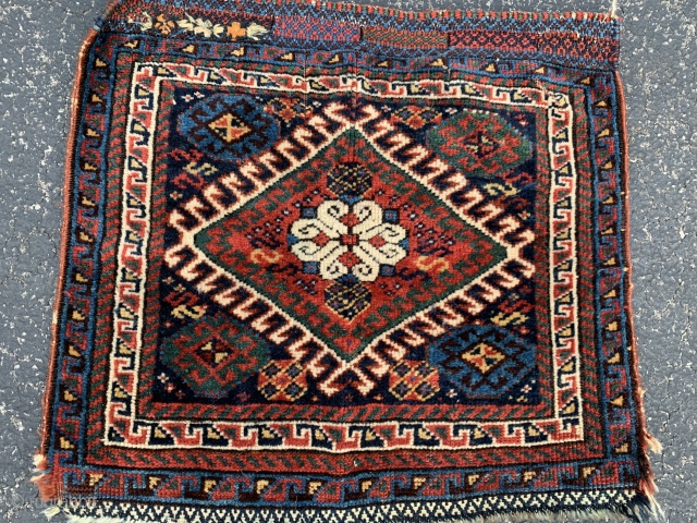Persian Lori bag face,  late 19th century,  1-9 x 1-11 (53 x 58),  good pile,  rug was hand washed,  added embroidery,  3 corners fraying,  plus  ...