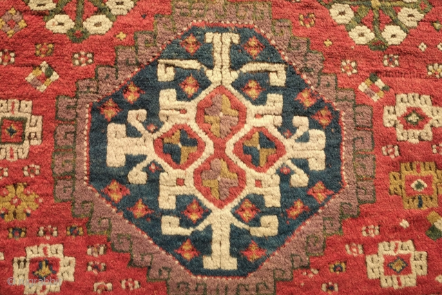 Kazak Lambalo rug, 3rd to 4th quarter of the 19th century.  Excellent colors. A great purple and green.  Nice thick pile.  A few small areas old repiling in the  ...